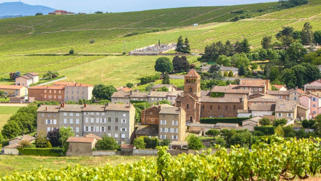 Vue sur le village de Salles-Arbuissonnas depuis les vignes du Beaujolais